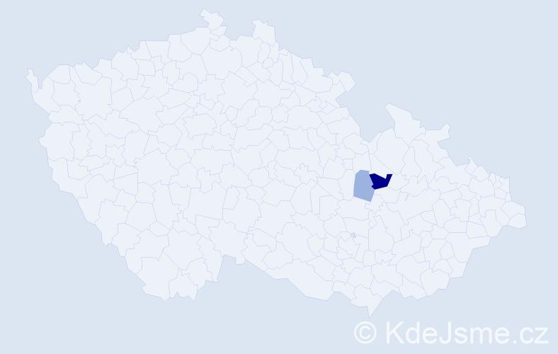 Příjmení: 'Eicherová', počet výskytů 5 v celé ČR
