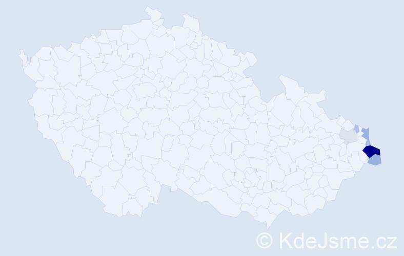 Příjmení: 'Cieńciała', počet výskytů 22 v celé ČR