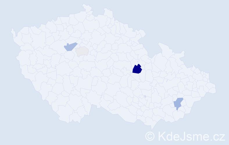 Příjmení: 'Benyahya', počet výskytů 5 v celé ČR