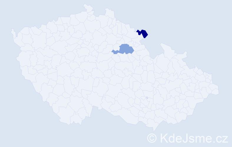 Příjmení: 'Hajpišlová', počet výskytů 5 v celé ČR