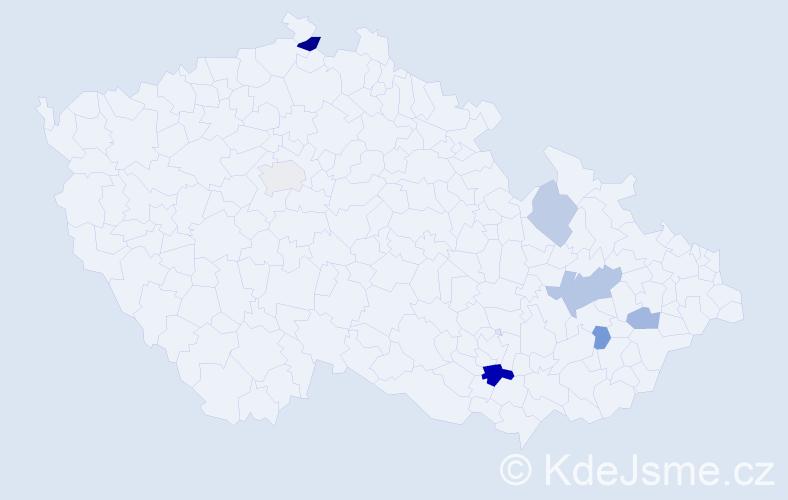 Příjmení: 'Blumajerová', počet výskytů 13 v celé ČR