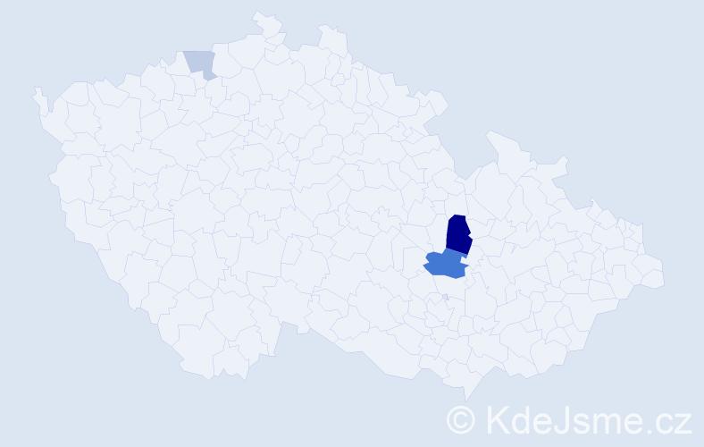 Příjmení: 'Hader', počet výskytů 14 v celé ČR