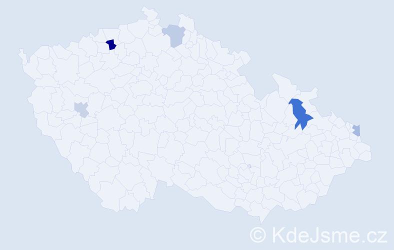 Příjmení: 'Izing', počet výskytů 7 v celé ČR