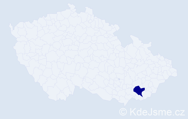 """Příjmení: '""""Bajaja Elisová""""', počet výskytů 1 v celé ČR"""