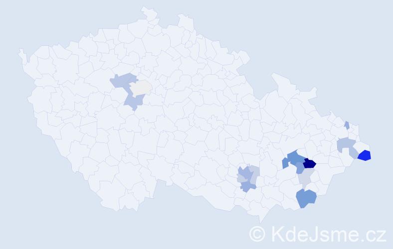 Příjmení: 'Kyrych', počet výskytů 33 v celé ČR
