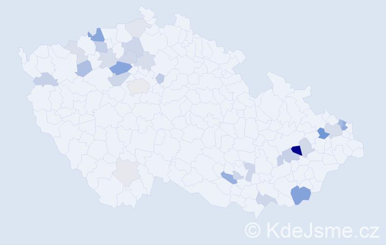 Příjmení: 'Groman', počet výskytů 69 v celé ČR