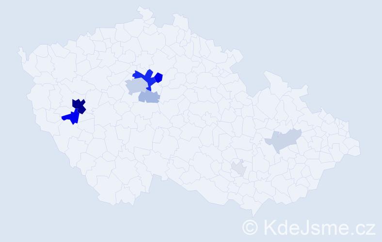 Příjmení: 'Cubr', počet výskytů 34 v celé ČR
