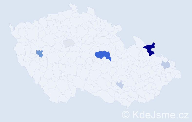 Příjmení: 'Gaššová', počet výskytů 9 v celé ČR
