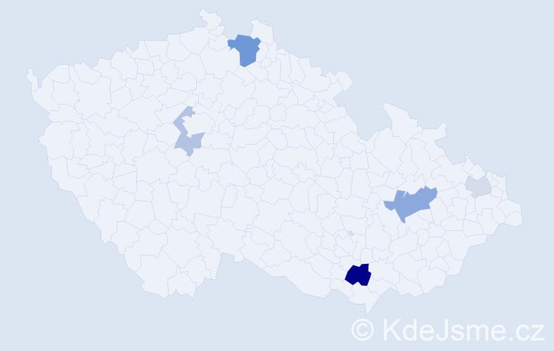 Příjmení: 'Čelouch', počet výskytů 10 v celé ČR