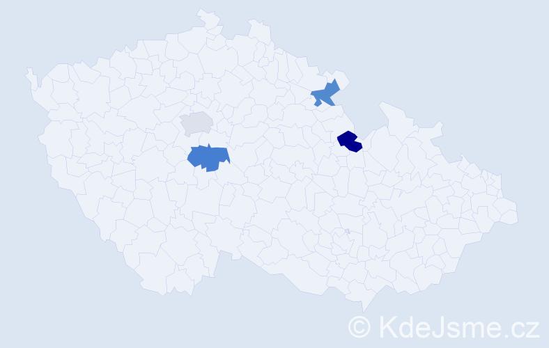 Příjmení: 'Fejkel', počet výskytů 4 v celé ČR