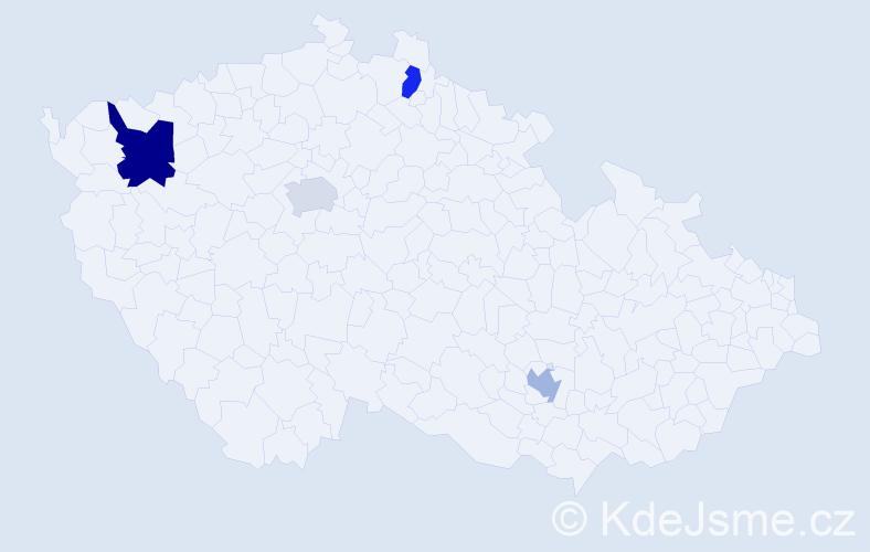 Příjmení: 'Kassem', počet výskytů 5 v celé ČR