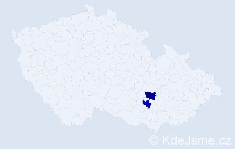 Příjmení: 'Čokovská', počet výskytů 5 v celé ČR