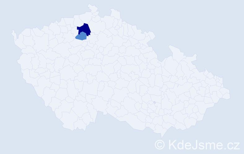 Příjmení: 'Kapuši', počet výskytů 5 v celé ČR