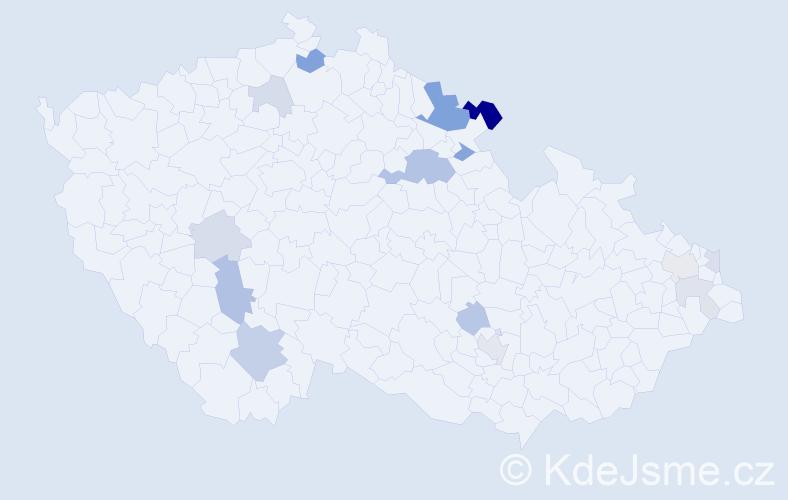 Příjmení: 'Gereg', počet výskytů 30 v celé ČR