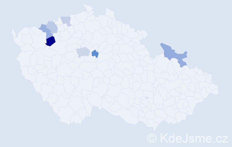 Příjmení: 'Hasinec', počet výskytů 14 v celé ČR