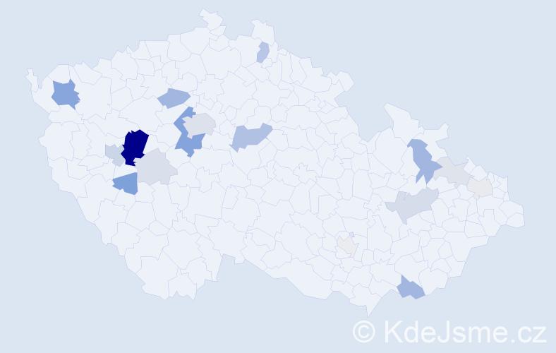 Příjmení: 'Boulová', počet výskytů 57 v celé ČR