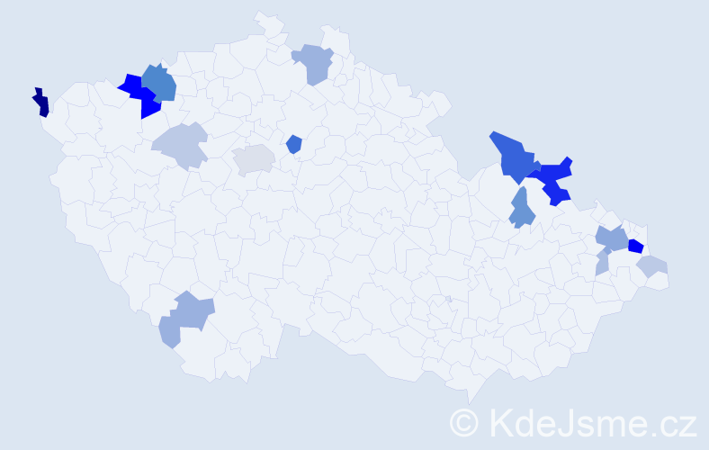Příjmení: 'Goral', počet výskytů 57 v celé ČR