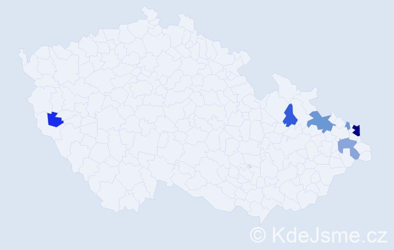 Příjmení: 'Magierová', počet výskytů 15 v celé ČR