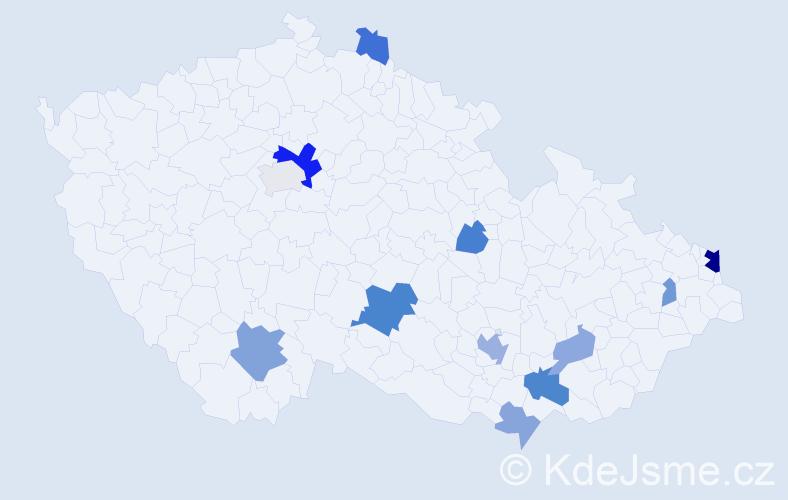 Příjmení: 'Józsová', počet výskytů 25 v celé ČR