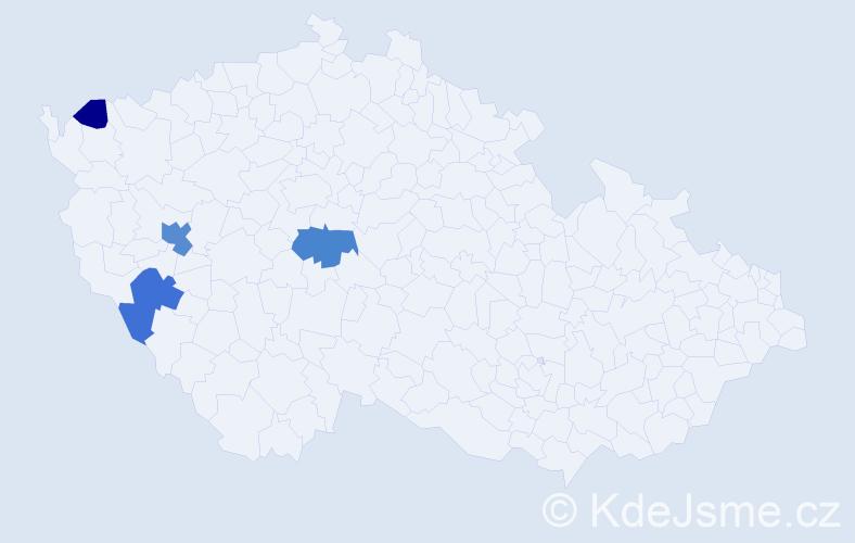 Příjmení: 'Grůberová', počet výskytů 9 v celé ČR