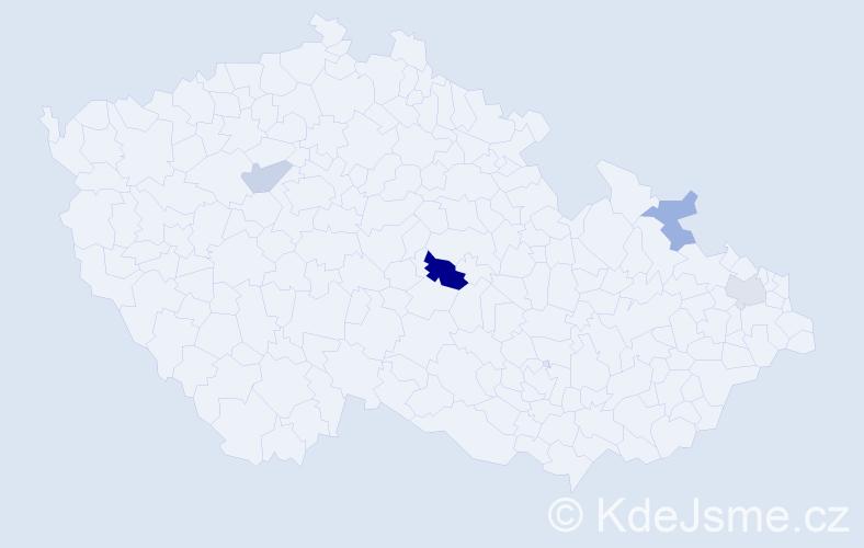 Příjmení: 'Ivanický', počet výskytů 6 v celé ČR
