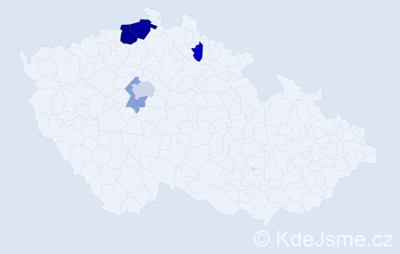 Příjmení: 'Hajdina', počet výskytů 11 v celé ČR