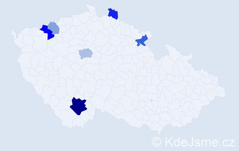Příjmení: 'Mallát', počet výskytů 17 v celé ČR