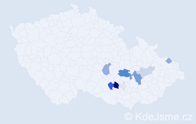 Příjmení: 'Bruža', počet výskytů 14 v celé ČR