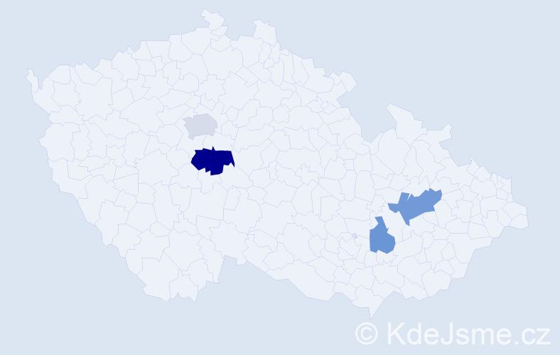 Příjmení: 'Démar', počet výskytů 8 v celé ČR