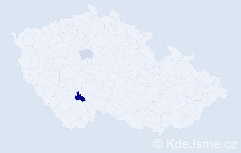 Příjmení: 'Abrahamovič', počet výskytů 4 v celé ČR