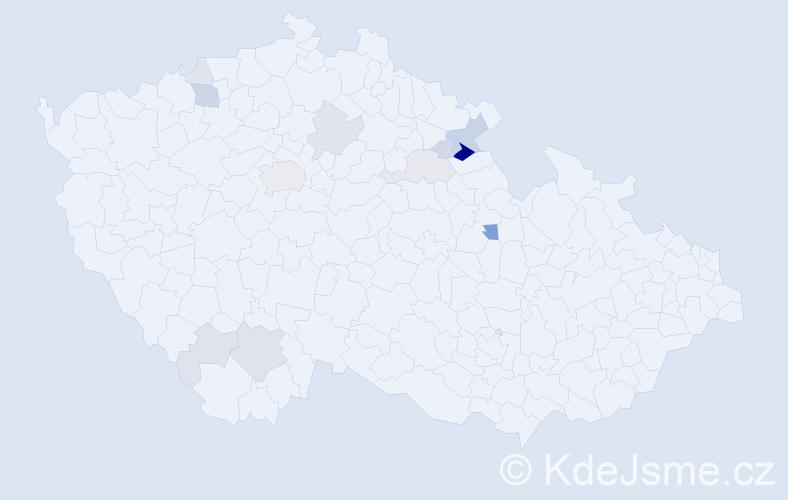 Příjmení: 'Hylena', počet výskytů 40 v celé ČR