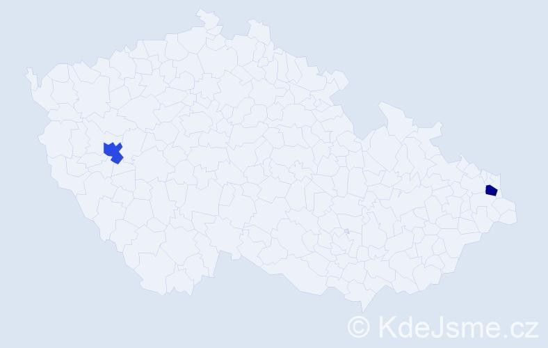 Příjmení: 'Jadamec', počet výskytů 2 v celé ČR