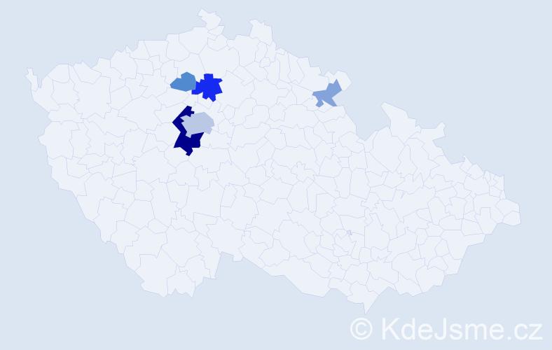 Příjmení: 'Lajnová', počet výskytů 15 v celé ČR