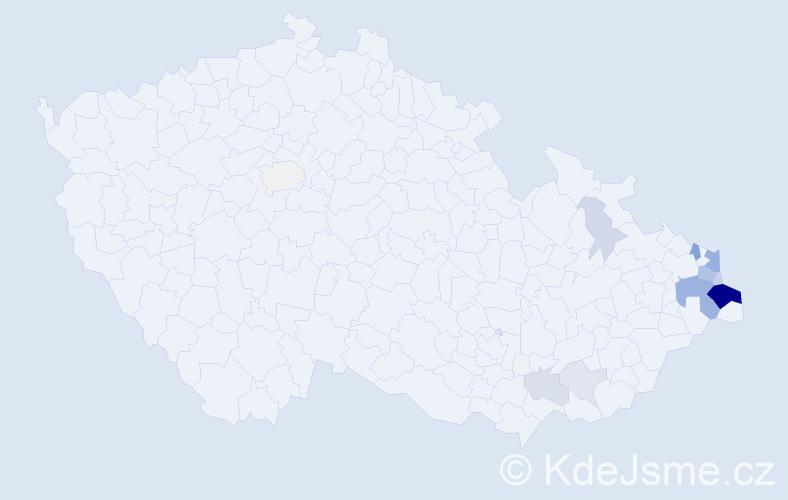 Příjmení: 'Kubaczková', počet výskytů 45 v celé ČR