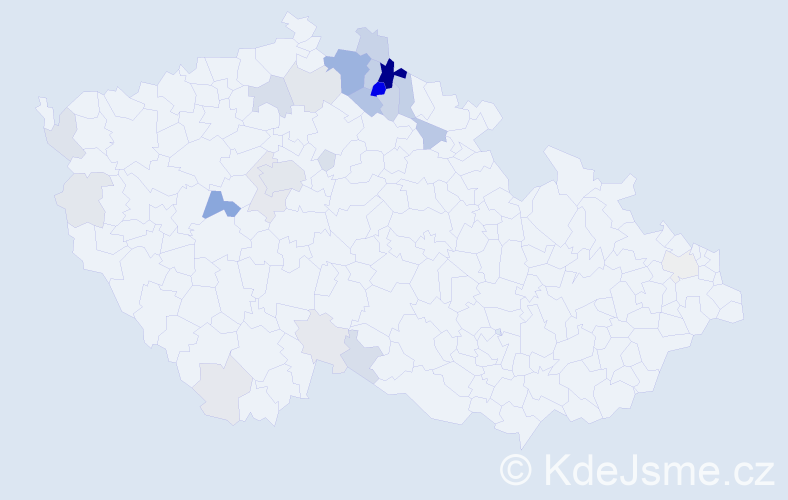 Příjmení: 'Belda', počet výskytů 105 v celé ČR