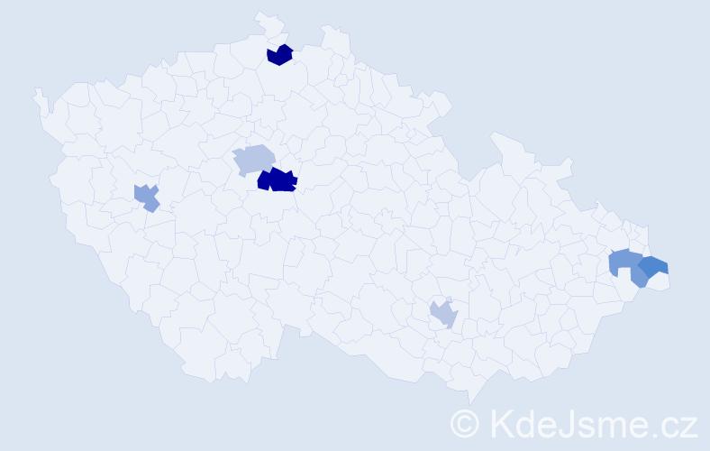 Příjmení: 'Daum', počet výskytů 10 v celé ČR