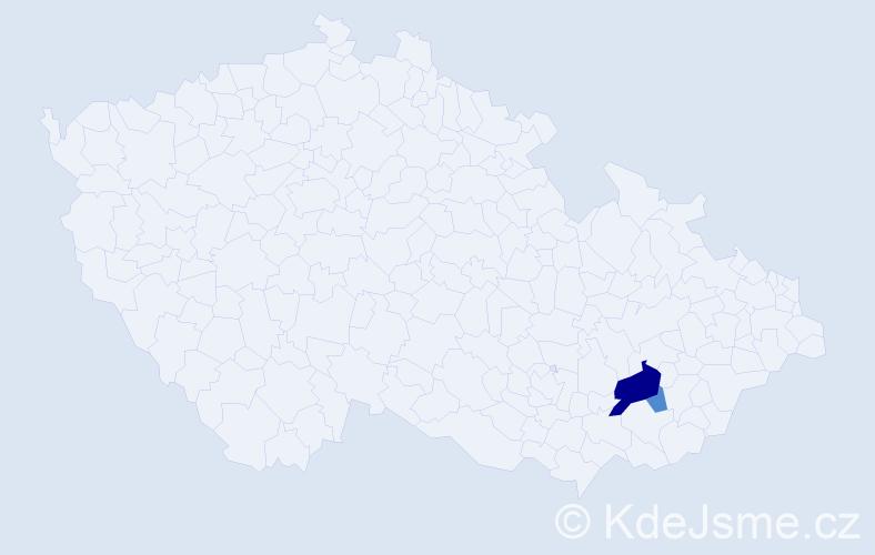 Příjmení: 'Hittlová', počet výskytů 5 v celé ČR
