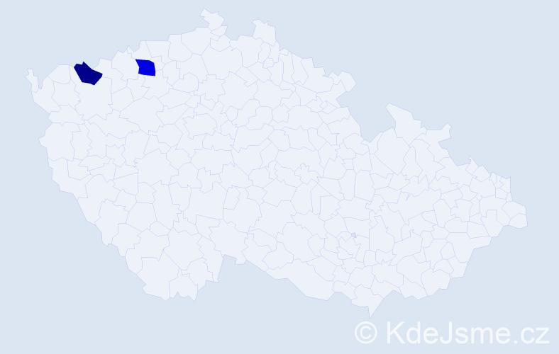 Příjmení: 'Bienebergová', počet výskytů 3 v celé ČR