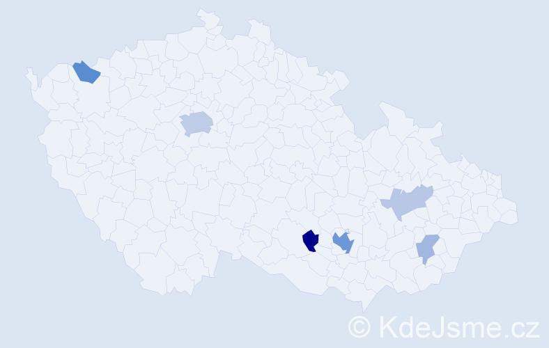 Příjmení: 'Kane', počet výskytů 15 v celé ČR