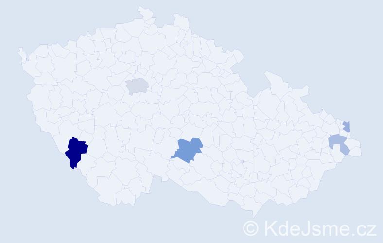Příjmení: 'Daník', počet výskytů 9 v celé ČR