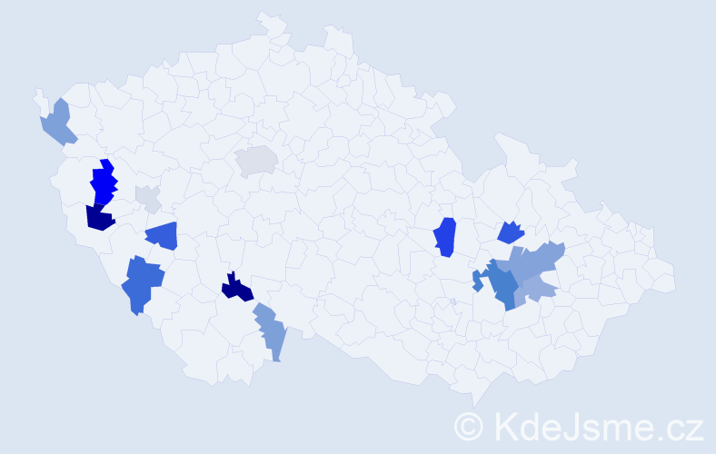 Příjmení: 'Lavrinčík', počet výskytů 34 v celé ČR