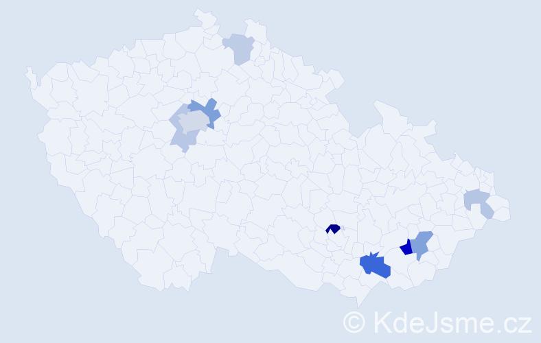 Příjmení: 'Fimbinger', počet výskytů 19 v celé ČR