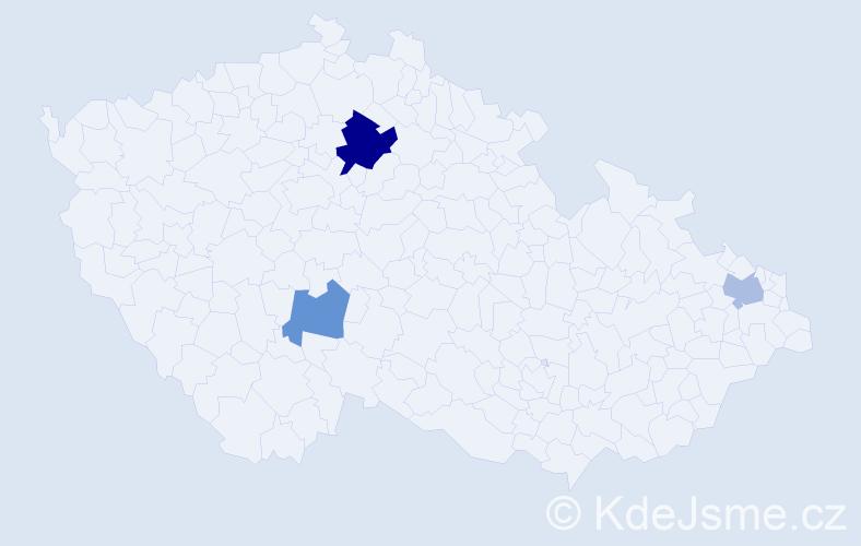 Příjmení: 'Domke', počet výskytů 5 v celé ČR
