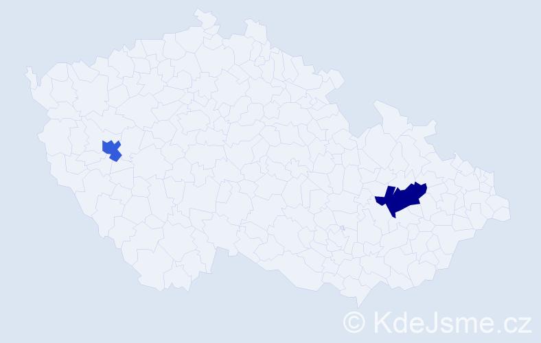 Příjmení: 'Iljasova', počet výskytů 5 v celé ČR