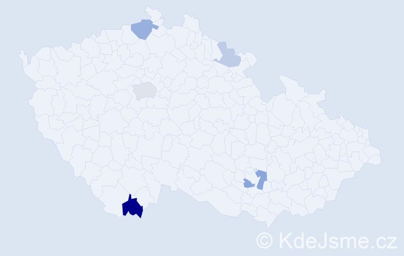 Příjmení: 'Butlerová', počet výskytů 12 v celé ČR