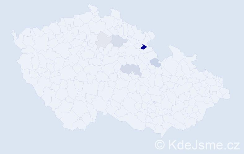 Příjmení: 'Kopistová', počet výskytů 11 v celé ČR