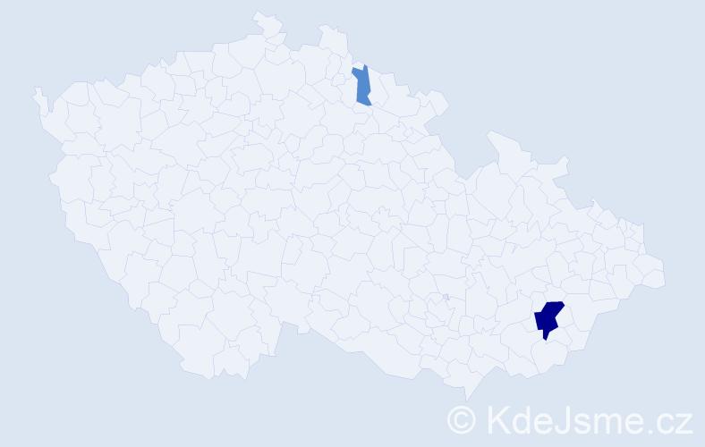 Příjmení: 'Lauman', počet výskytů 9 v celé ČR