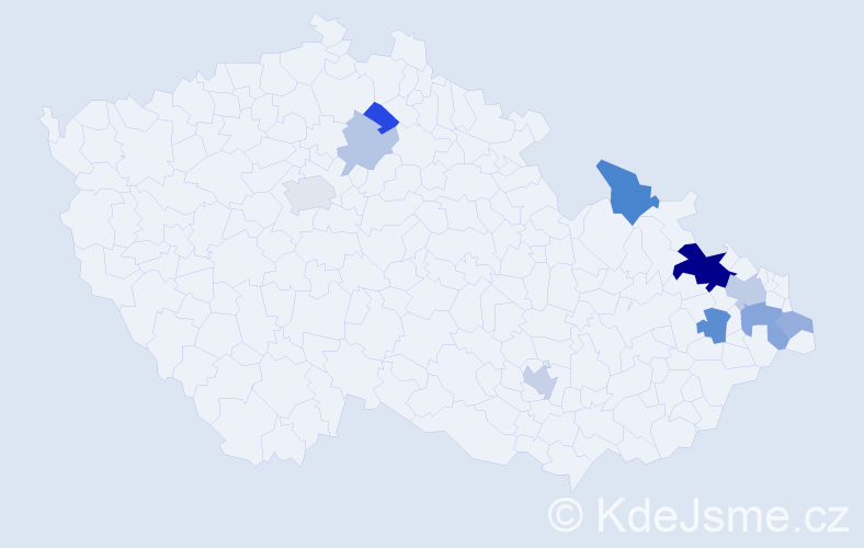 Příjmení: 'Dodeková', počet výskytů 23 v celé ČR