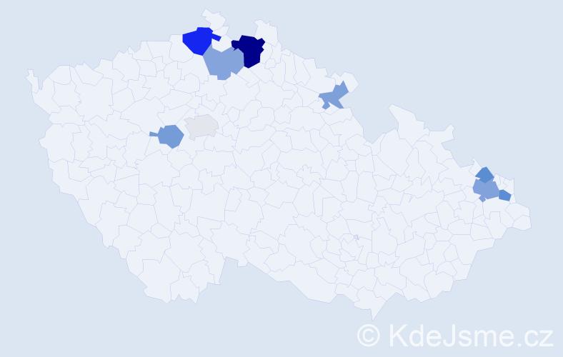 Příjmení: 'Dorníková', počet výskytů 19 v celé ČR