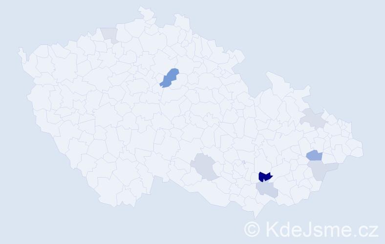 Příjmení: 'Kanitrová', počet výskytů 14 v celé ČR